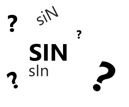 """The word """"Sin"""" desplayed three times with question marks"""