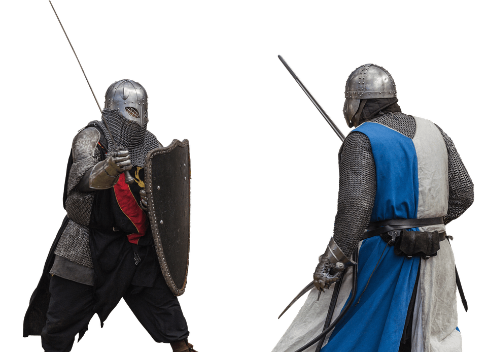 Soldiers in armor with shield fighting