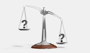 Image of Scales with Questions marks over both sides to indicate choices or decisions