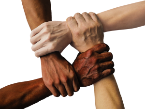 Hands of people in cooperation